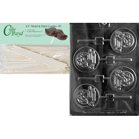 Mitzvah Chocolate (Cybrtrayd Bar Mitzvah Boy Pop Chocolate Candy Mold with 50 4.5-Inch Lollipop Sticks and Exclusive Cybrtrayd Copyrighted Chocolate Molding Instructions)