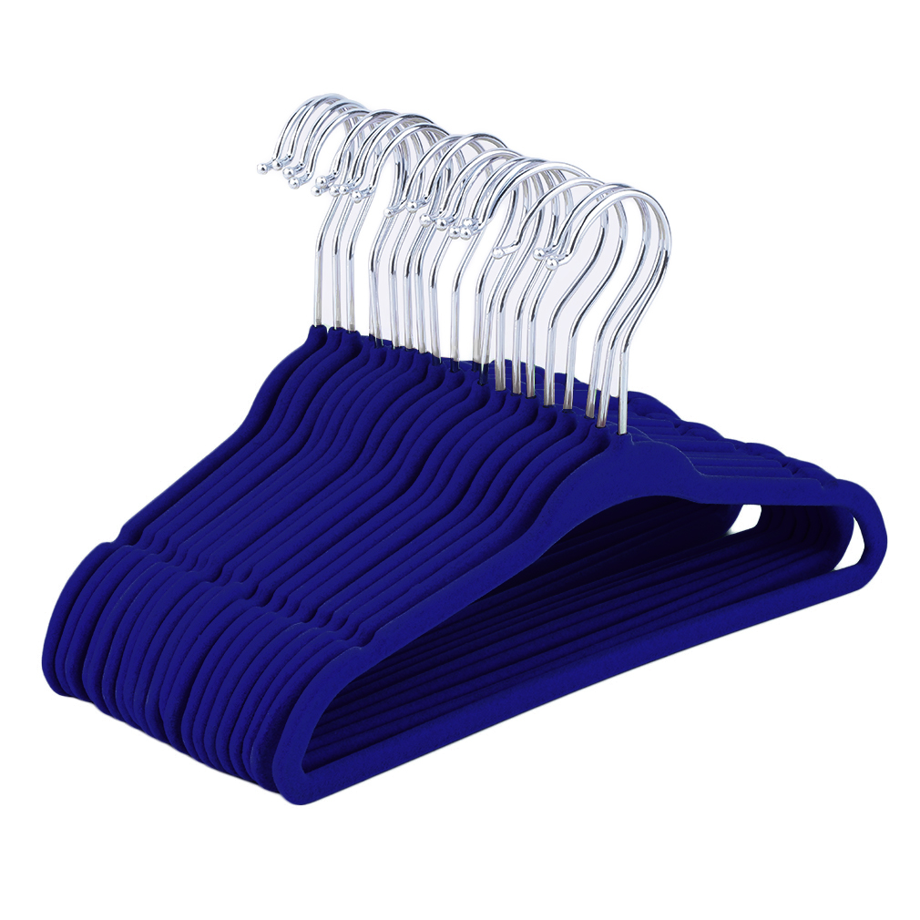 20pcs Non-Slip Kids Children Child Baby Coat Clothes Hangers Velvet Flocking Blue