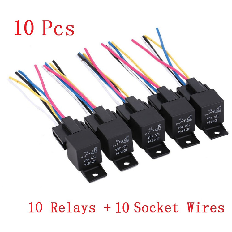 10 pack relay automotive relay practical 12 volt harness 5 pin 30 40 40 amp relay sockets 10 pack relay automotive relay practical 12 volt harness 5 pin 30 40 amp