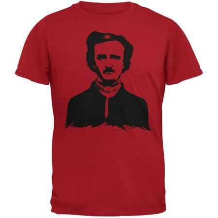 Halloween Edgar Allen Poe Red Adult T-Shirt - Allen Halloween No Love