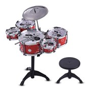 Children Kids Jazz Drum Set Kit Musical Educational Instrument Toy 5 Drums + 1 Cymbal with Small Stool Drum Sticks for Boys Girls