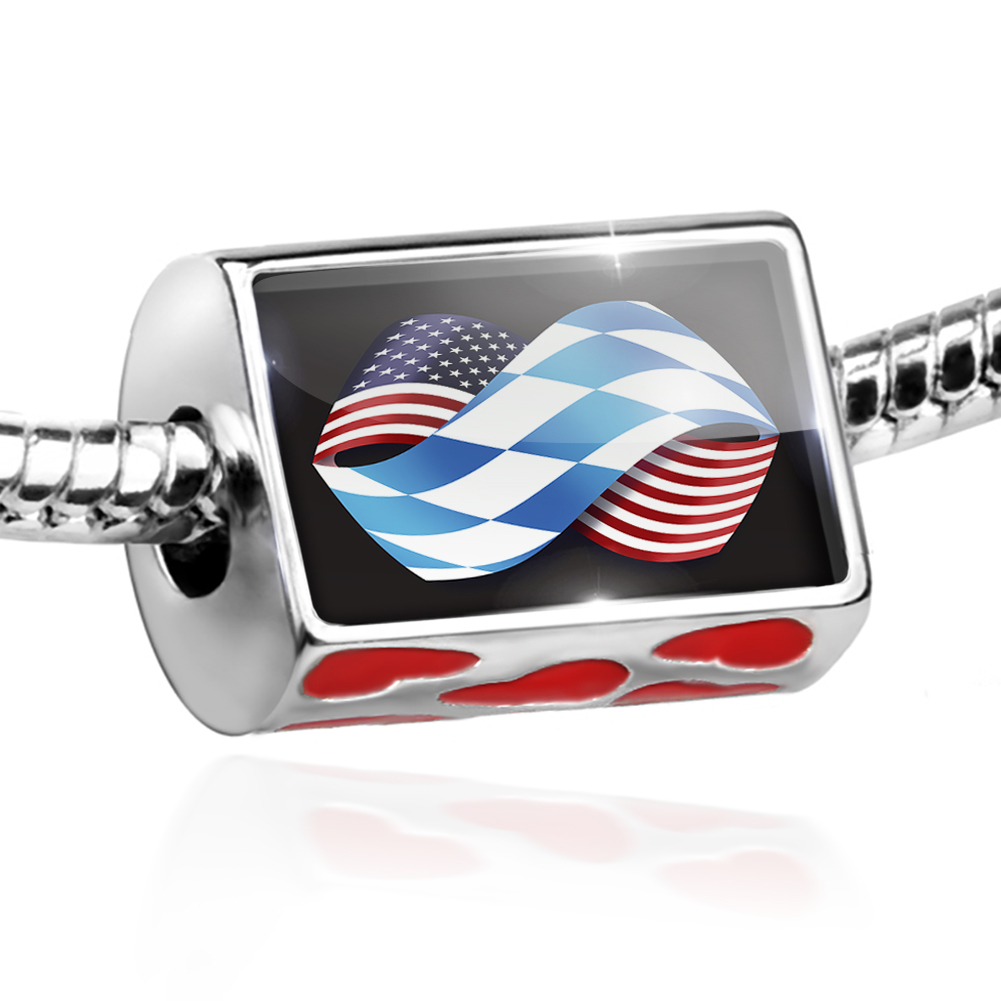 Bead Friendship Flags USA and Bayern region Germany Charm Fits All European Bracelets