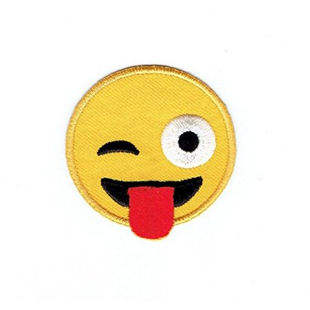 Smiley Face Emoji Winking with Tongue - Iron on Applique - Embroidered Patch (Tongue Swirl Emoji)