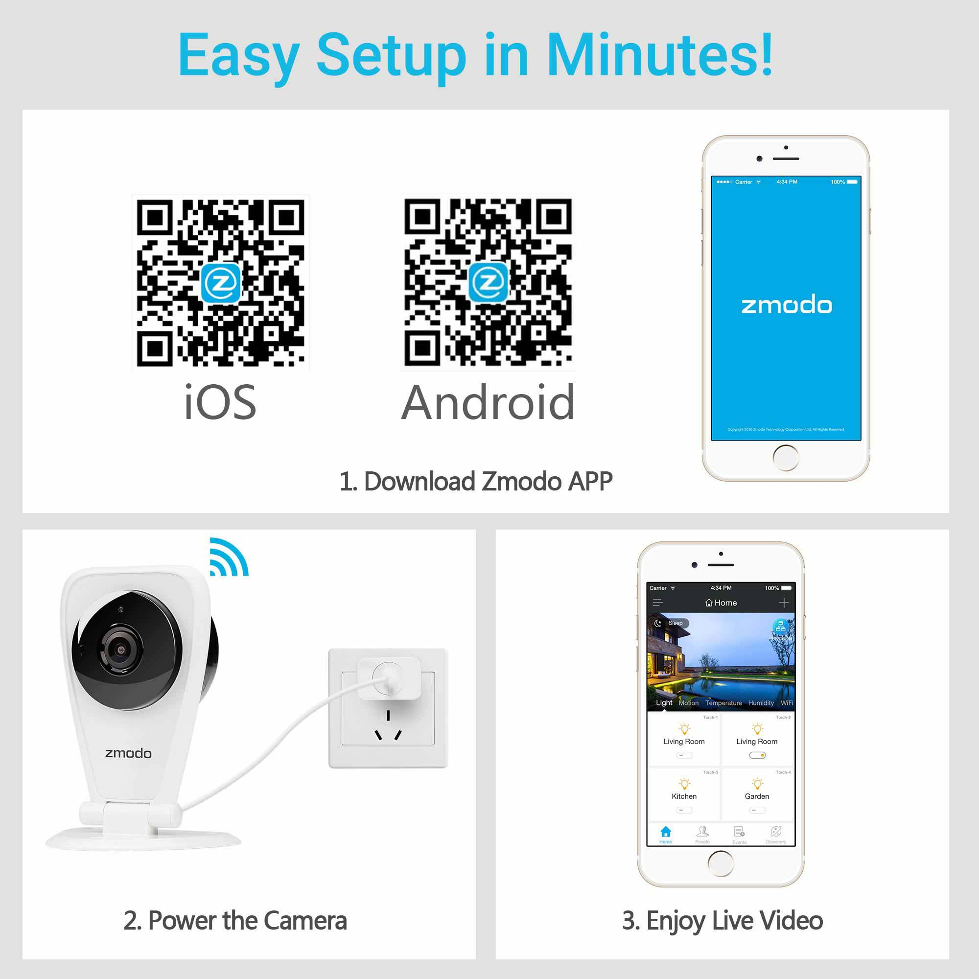 Zmodo EZCam 720p HD WiFi Wireless Security Surveillance IP