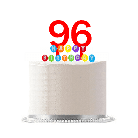 Item#096WCD - Happy 96th Birthday Party Red Cake Topper & Rainbow Candle Stand Elegant Cake Decoration Topper Kit