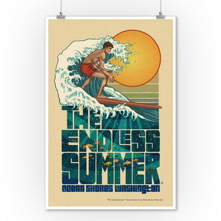 Ocean Shores, Washington - The Endless Summer - Underwater Scene - Lantern Press Artwork (9x12 Art Print, Wall Decor Travel Poster)