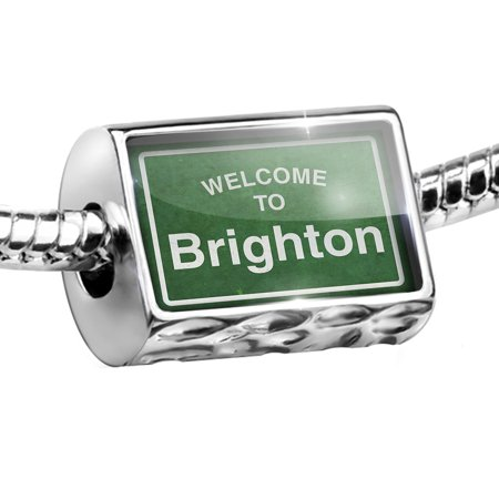 Bead Green Road Sign Welcome To Brighton Charm Fits All European Bracelets (Brighton Jewelry Outlet)