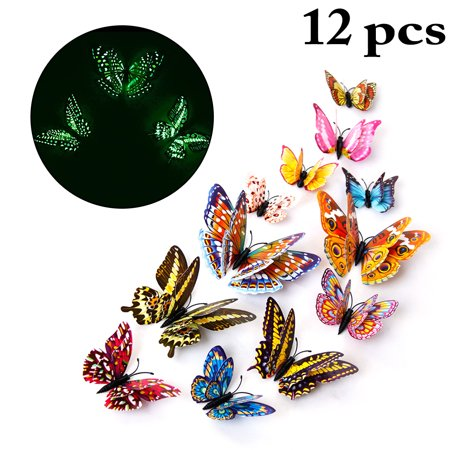 12PCS Butterfly Wall Decals, Justdolife Creative Luminous 3D Double Layers Butterfly Wall Stickers for Home Bedroom Kids Living Room Decoration