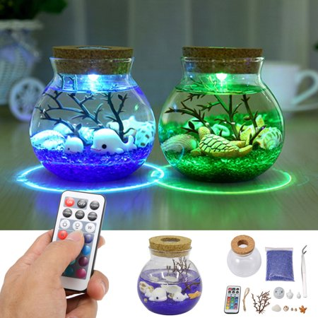 Aquarium Seabed Micro Landscape Glass Ball Bottle with LED Color Changing Night Light Lamp Desk Decor](Glowing Ball Night Light)