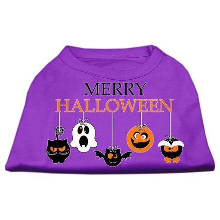 Merry Halloween Screen Print Dog Shirt Purple Med (12) - Merry Halloween