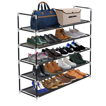 Stackable Shoe Rack - 5 Tiers Utility Steel Shoe Rack Non-woven Fabric Shoe Storage Organizer Cabinet Tower Stackable Shelves Holds 25 Pairs Of Shoes