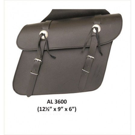 Motorcycle Medium Luggage Travel throw-over Saddle Bag in Leather With (Saddle Leather Silhouette)