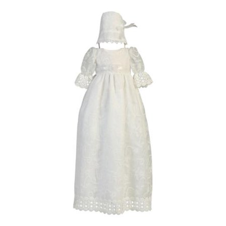 Baby Girls White Embroidered Tulle Long Gown Bonnet Christening Set 0-18M ()