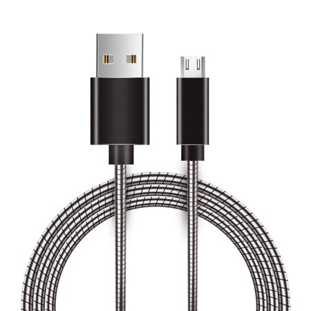 Insten Metal Snake Fast Data Charging Power Micro USB Cable with Aluminum Connectors for Samsung Galaxy J7 2017 S7 Plus Edge S6 S5 S4 On5 Pro LG Aristo Stylo 2 K7 K8 Motorola Moto G4 Play Plus - Gray