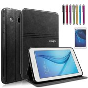 Mignova Samsung Galaxy Tab E Lite 7.0 Case - Folio Premium Leather Case for Samsung Galaxy Tab E Lite 7.0 & Tab 3 Lite 7.0 Tablet + Screen Protector Film and Stylus Pen (Black)