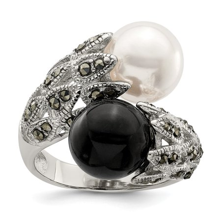 Roy Rose Jewelry Sterling Silver Marcasite Black and White Cultured Pearl Ring Black And White Pearl Ring
