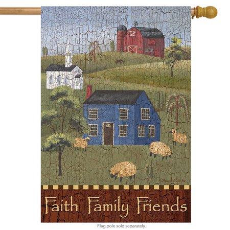 Faith Family Friends Primitive House Flag Everyday Salt Box Houses 28