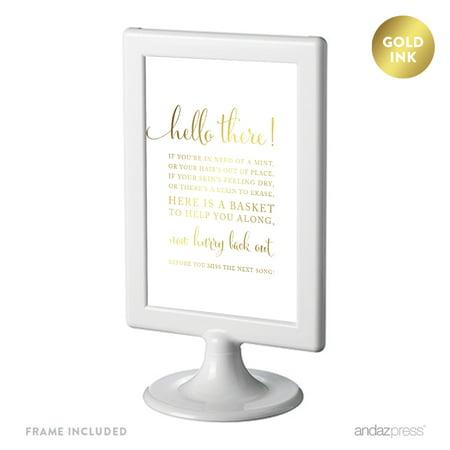 Bathroom Basket Sign (Bathroom Basket Framed Metallic Gold Wedding Party)