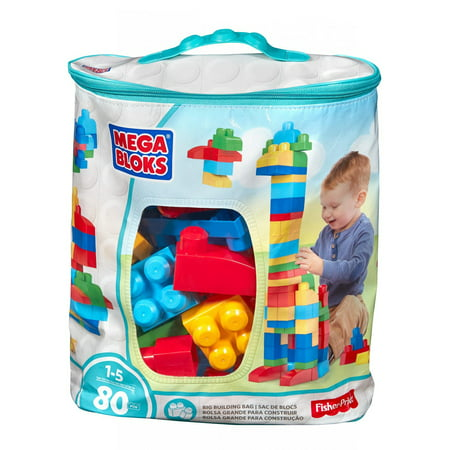 Big Builder Set (Mega Bloks First Builders Big Building Bag, 80 Piece Classic Set | DCH63)