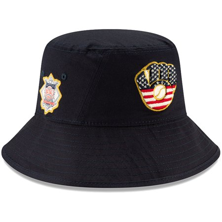 Milwaukee Brewers New Era 2019 Stars & Stripes 4th of July Bucket Hat - Navy - OSFA