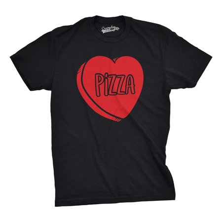 Crazy Dog Tshirts   Mens Pizza Candy Heart Funny Pizza Lovers Valentines Day Relationship T Shirt