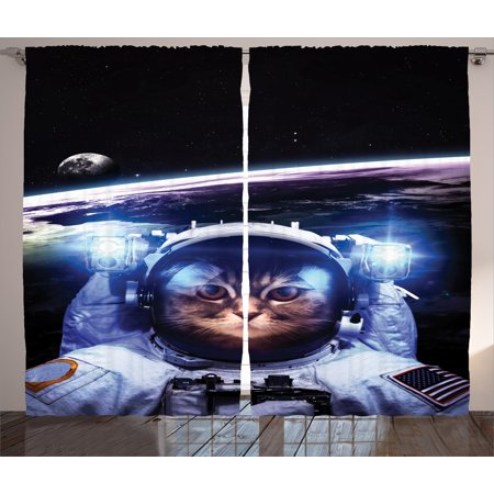Cat Curtains 2 Panels Set, Funny Astronaut Cat above Earth in Outer Space Explorer Kitty Mission Humor Image, Window Drapes for Living Room Bedroom, 108W X 90L Inches, Blue White, by