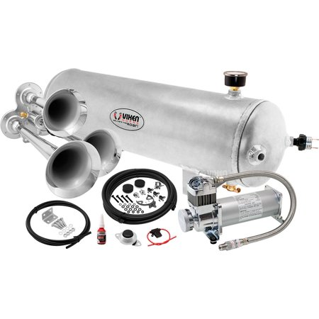 - Vixen Horns Loud 135dB 3/Triple Chrome Trumpet Train Air Horn with 3 Gallon Raw Aluminum Tank and 200 PSI Compressor Full/Complete Onboard System/Kit VXO8330APRO/3114C
