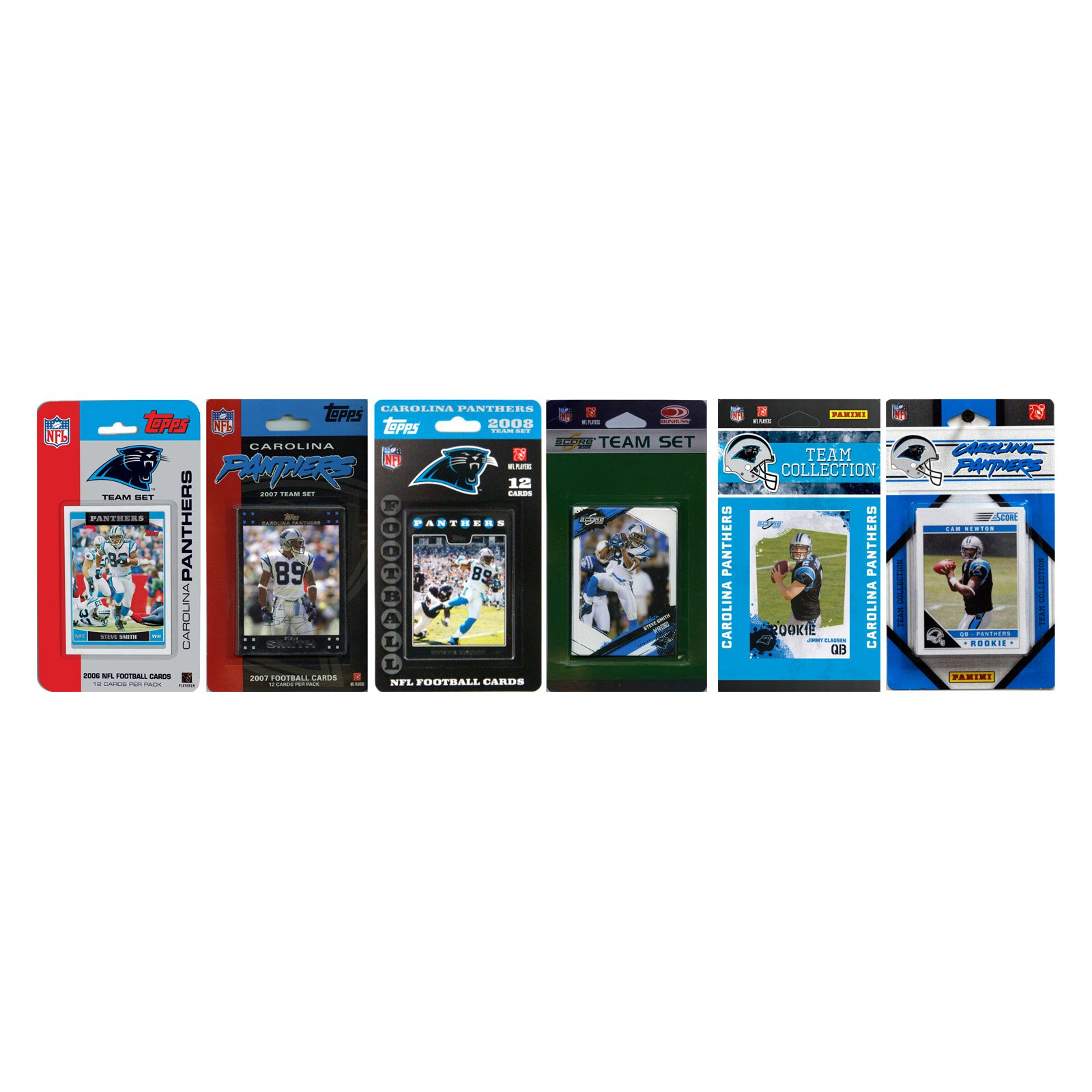 NFL Carolina Panthers 6 Different Licensed Trading Card Team Sets
