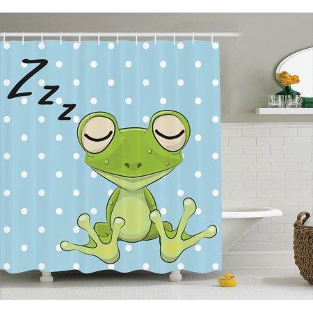 Cartoon Decor Sleeping Prince Frog In A Cap Polka Dots