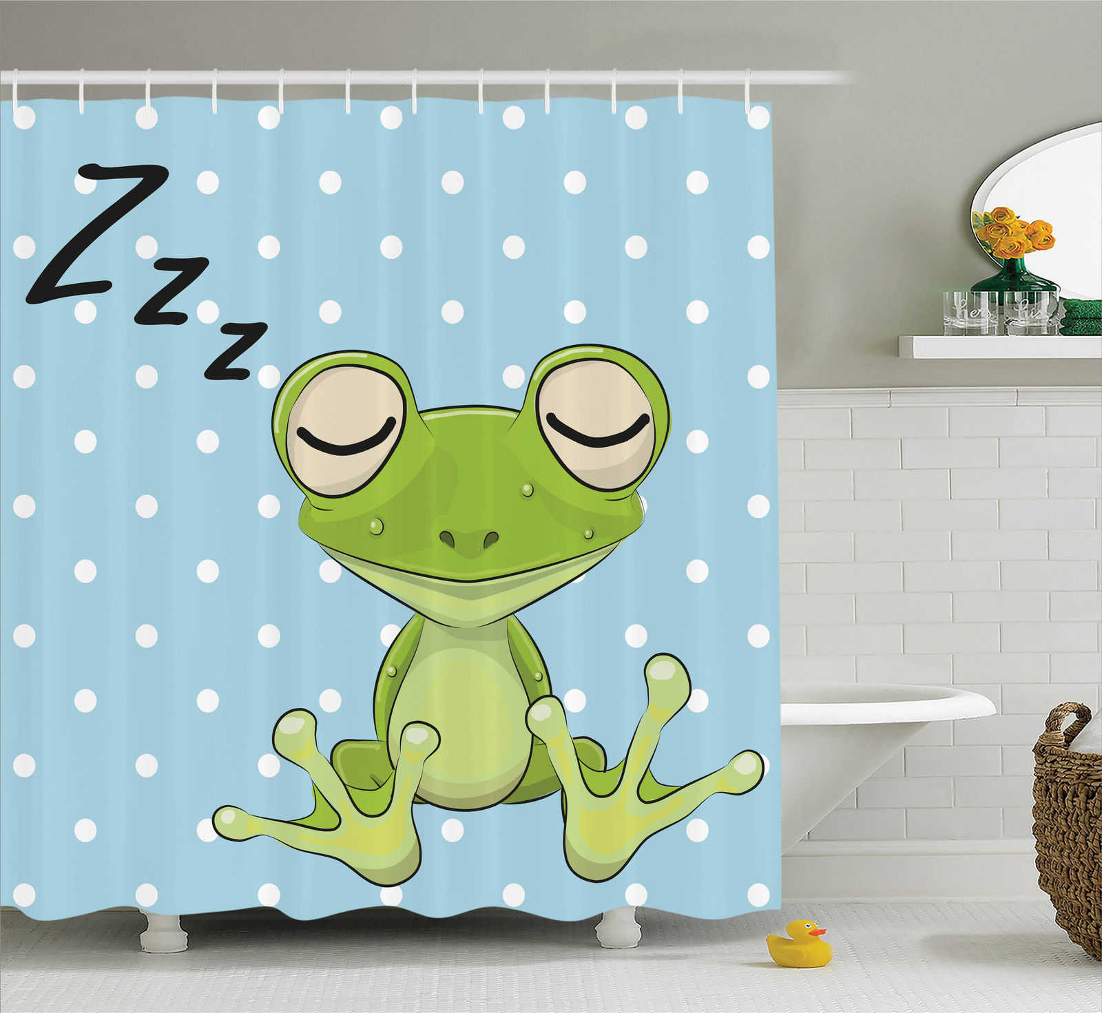 Cartoon Decor  Sleeping Prince Frog In A Cap Polka Dots Background Cute Animal World Kids Home Decor, Bathroom Accessories, 69W X 84L Inches Extra Long, By Ambesonne