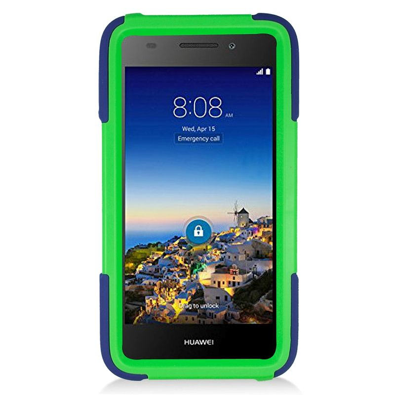 Huawei Pronto phone case by Insten Symbiosis Silicone Dual Layer Rubber Hard Case w/stand For Huawei Pronto - Blue/Green - image 1 de 4