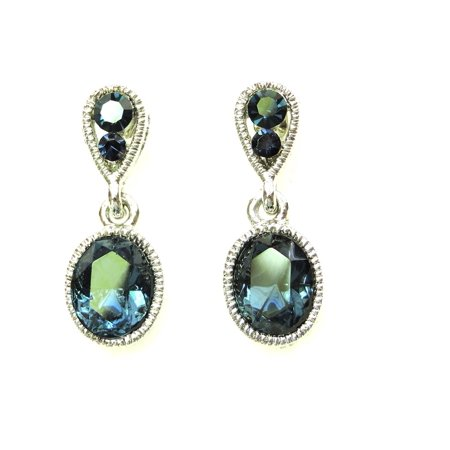 Gorgeous Rhinestone Crystal Dangling Pierced Earrings - Navy Blue Crystal Chandelier Pierced Earrings