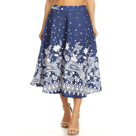 38e09972357 MOA COLLECTION Women s Plus Size Flared Stretchy Pleated Pattern A-Line Midi  Skirt Made in USA