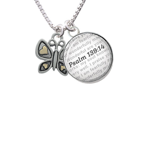 Butterfly with Gold Tone Hearts - Bible Verse Psalm 139:14 Glass Dome Necklace