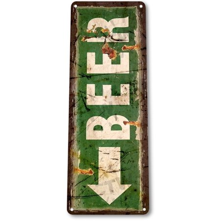 - TIN SIGN B402 Beer Arrow Bar Pub Cabin Lounge Cave Lodge Beer Rustic Decor, By Tinworld