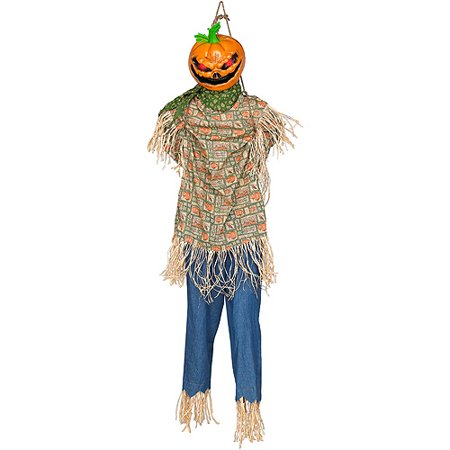 Life size animated hanging kicking scarecrow over 5 39 tall for Animated scarecrow decoration