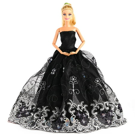 Dolls Doll Party Costume Clothing Embroidery Lace Wedding Dress Trailing Dress - Party Clothing