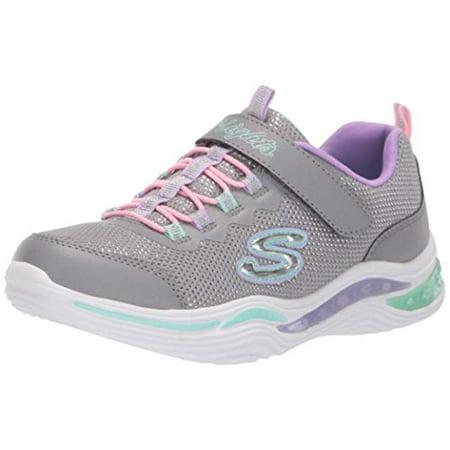 Skechers Kids Girls' Power Petals Sneaker Grey/Multi 3 Medium US Little Kid (Nike Medium Shoes)