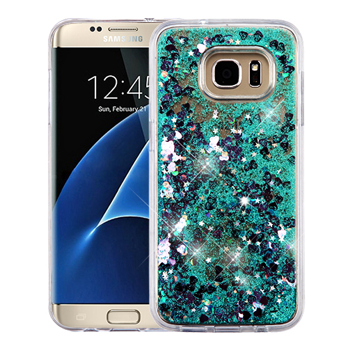 For Samsung Galaxy S7 Edge Liquid Bling Glitter Hybrid Rubber Protector Cover