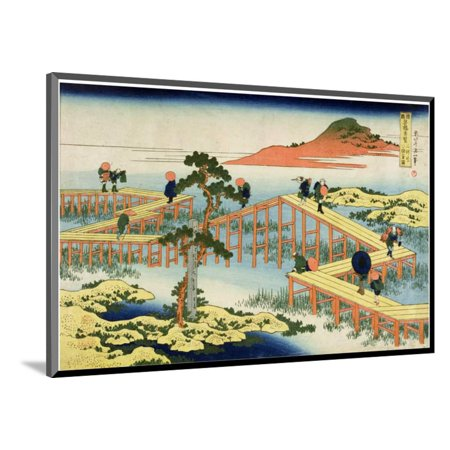 Eight Part Bridge, Province of Mucawa, Japan, circa 1830 Wood Mounted Print Wall Art By Katsushika Hokusai