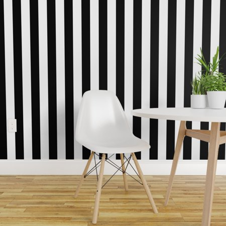 Removable Water-Activated Wallpaper Vertical Stripes Black And White Stripes Primary Stripe Wallpaper