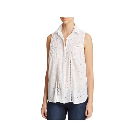 Side Stitch Womens Casual Eyelet Button-Down Top White XS - Eyelet Tube Top