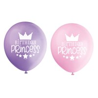 Latex Birthday Princess Balloons, Pink & Purple, 12 in, 8ct