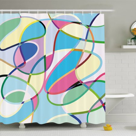 Ambesonne Modern Art Home Odd Experimental Altering Active Motion States Artwork Shower Curtain Set
