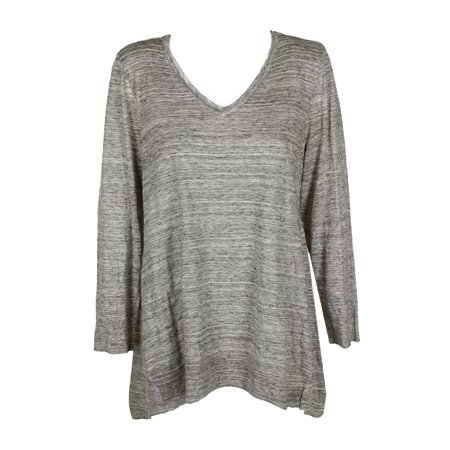 Style & Co Grey Ivory Space-Dyed V-Neck Tunic Sweater  XL
