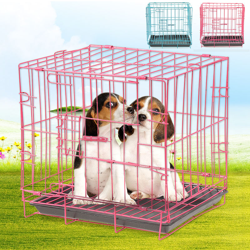 "14"" Small Dog Pet Cat Crate Cage Kennel Metal Folding Door Tray Travel Portable Low Carbon Steel Wire"