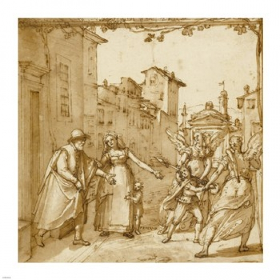Taddeo Leaving Home Escorted by Two Guardian Angels Poster Print by Federico Zuccaro (16 x 16)