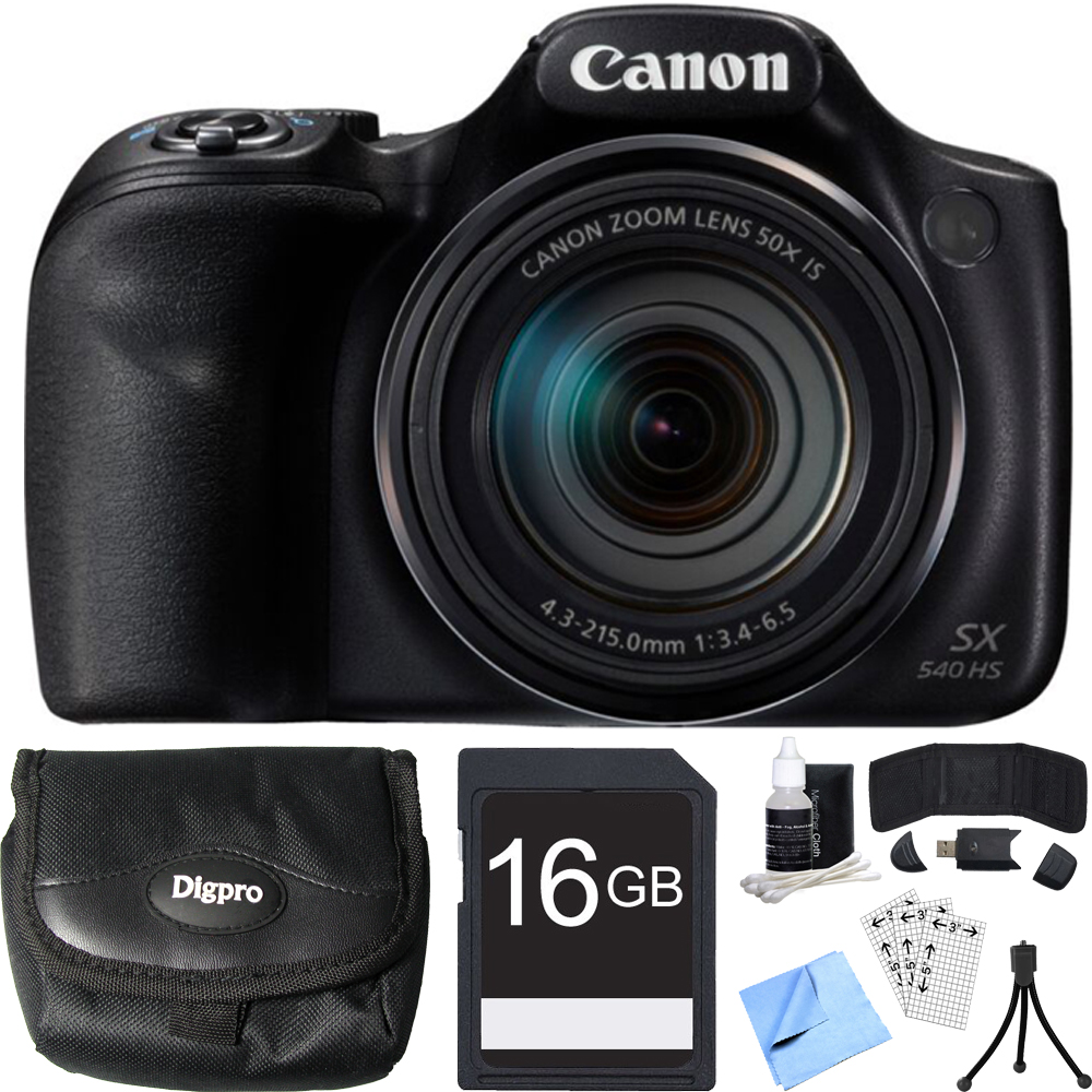 Canon PowerShot SX540 HS 20.3MP Digital Camera w/ 50x Optical Zoom 16GB Card Bundle includes Camera, Card, Reader, Wallet, Case, Mini Tripod, Screen Protectors, Cleaning Kit and Beach Camera Cloth