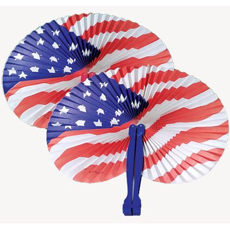 U.S. Toy Stars and Stripes Patriotic Folding Fan, Red White Blue, 12 Pack (Red White And Blue Star)