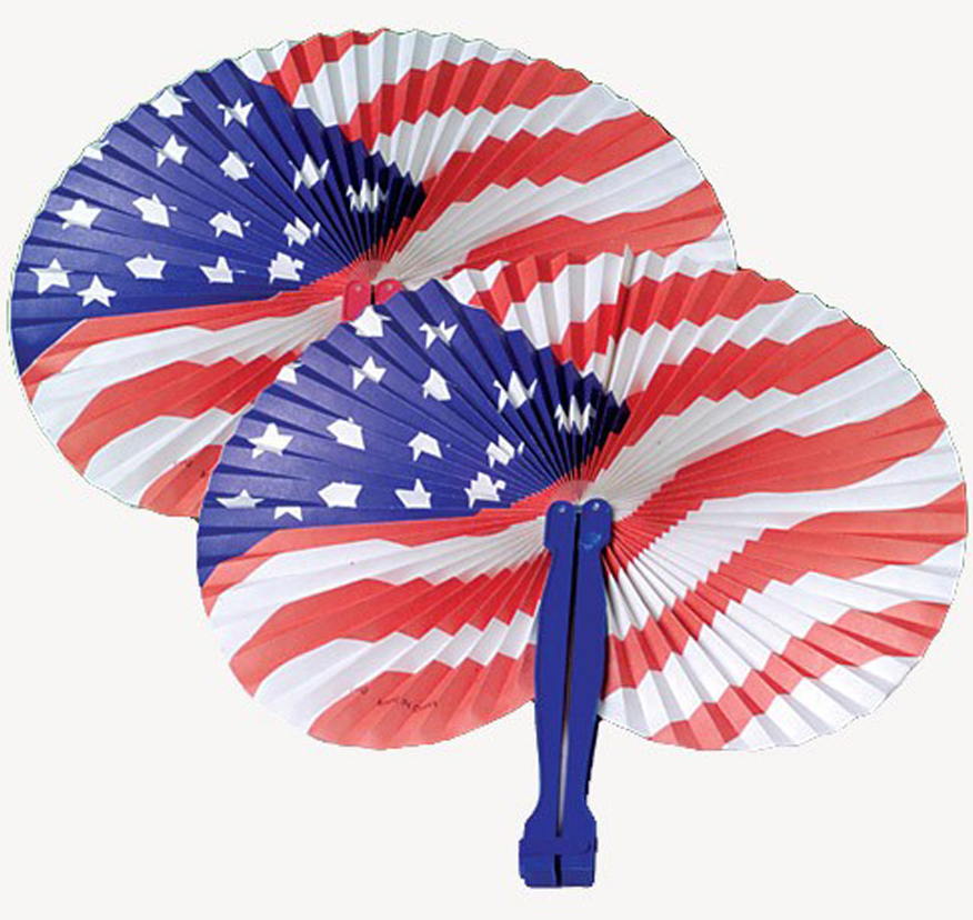 U.S. Toy Stars and Stripes Patriotic Folding Fan, Red White Blue, 12 Pack